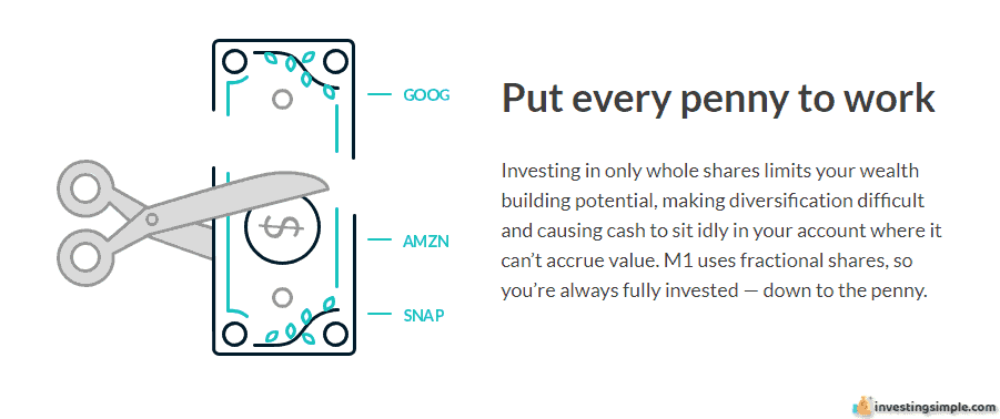 M1 Finance allows you to put every penny to work and ultimately remain fully invested.
