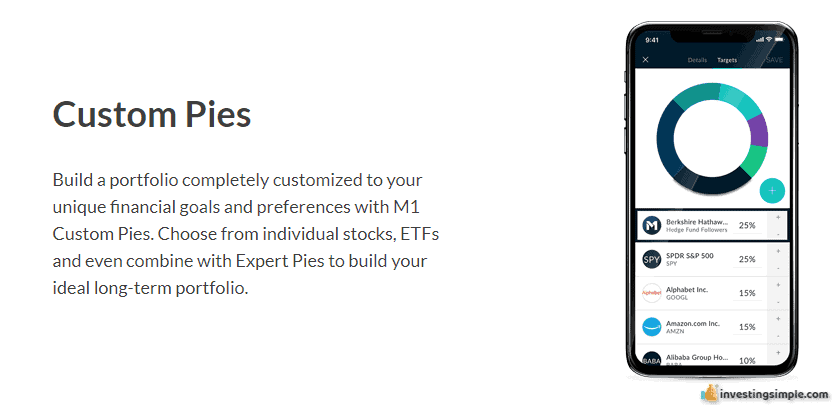 M1 Finance allows you to build your own custom portfolio or investment pies.
