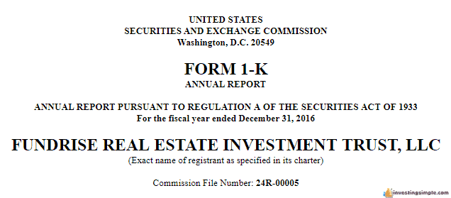 Fundrise is audited on a regular basis and files the Form 1-K with the SEC. This makes Fundrise a safe investment.