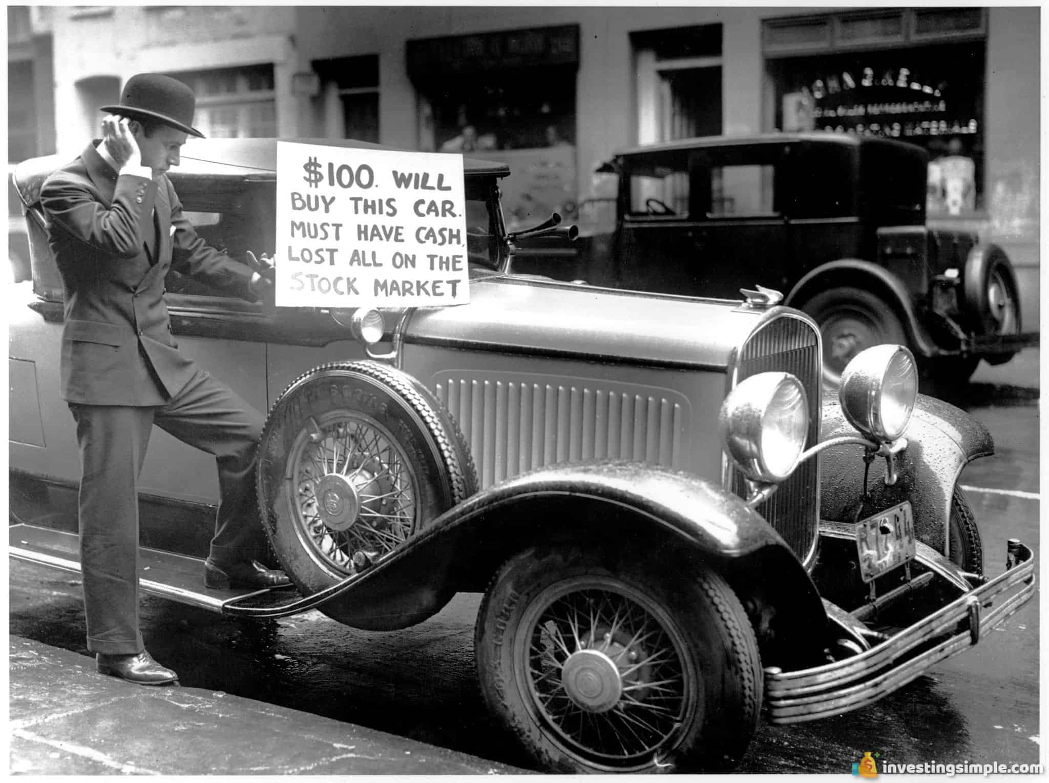 During the great depression after the stock market crash, a man is seen here trying to sell his car after losing all his money in the stock market.