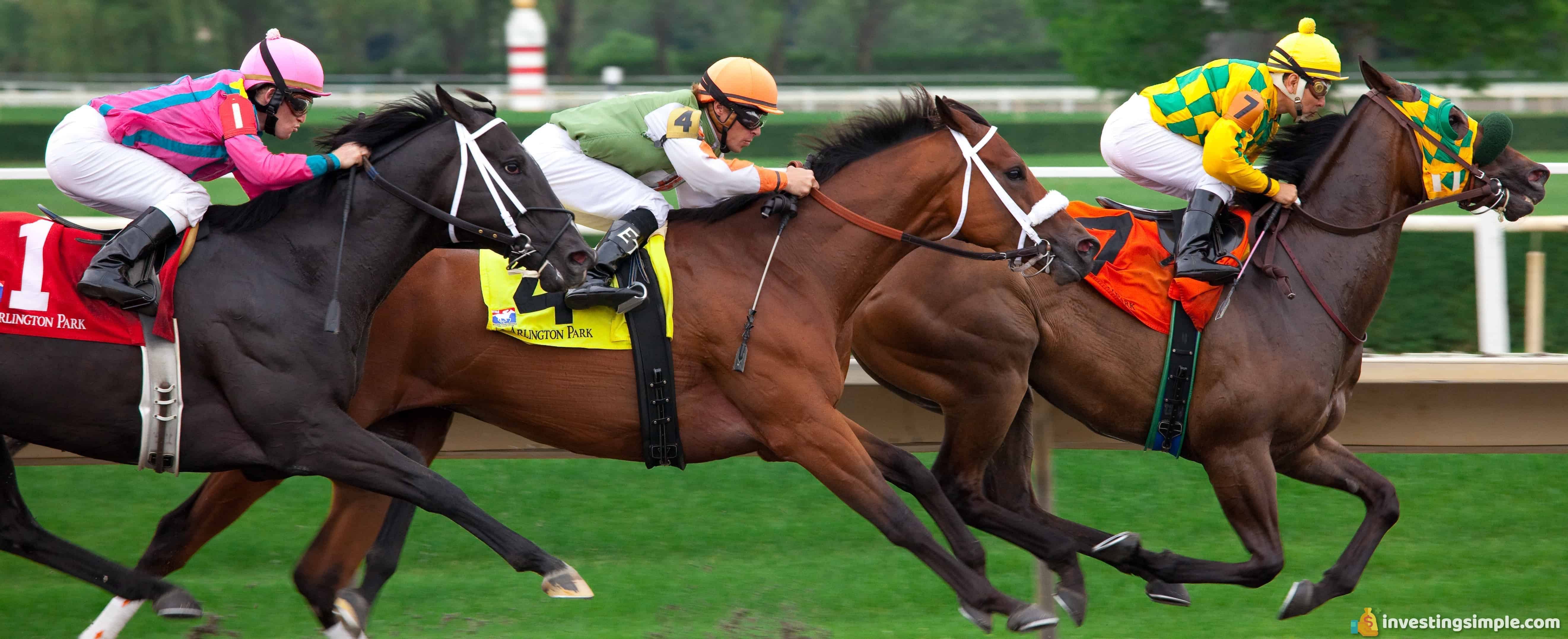 Investing in index funds that track the overall stock market is similar to betting on the outcome of an entire horse race instead of picking one winning horse.