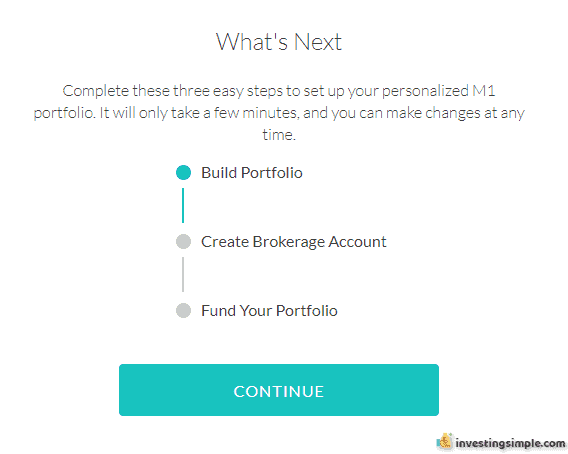 Here is the sign up process for opening an M1 Finance account.