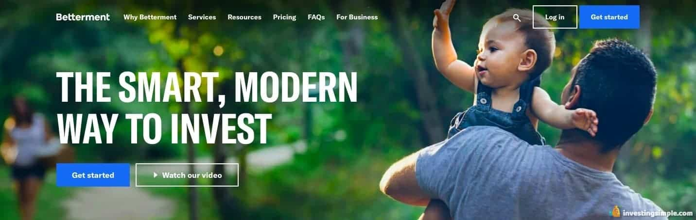 Homepage of the Betterment roboadvisor, offering Smart Saver.