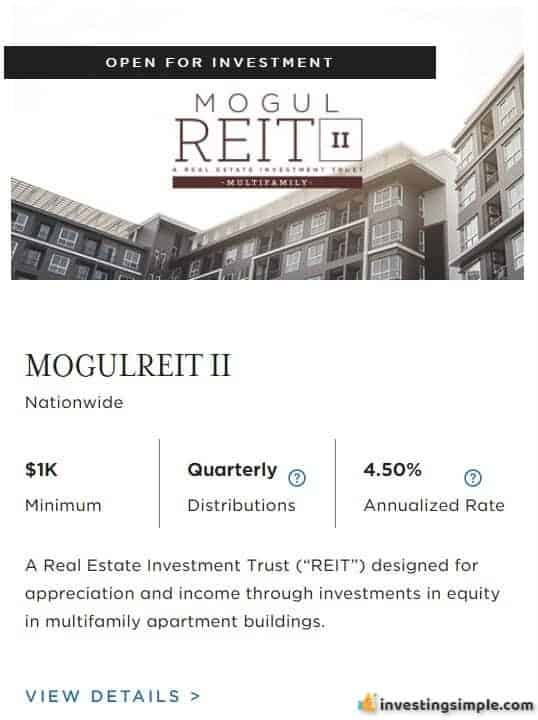 RealtyMogul Mogul REIT II crowdfunded real estate investment.