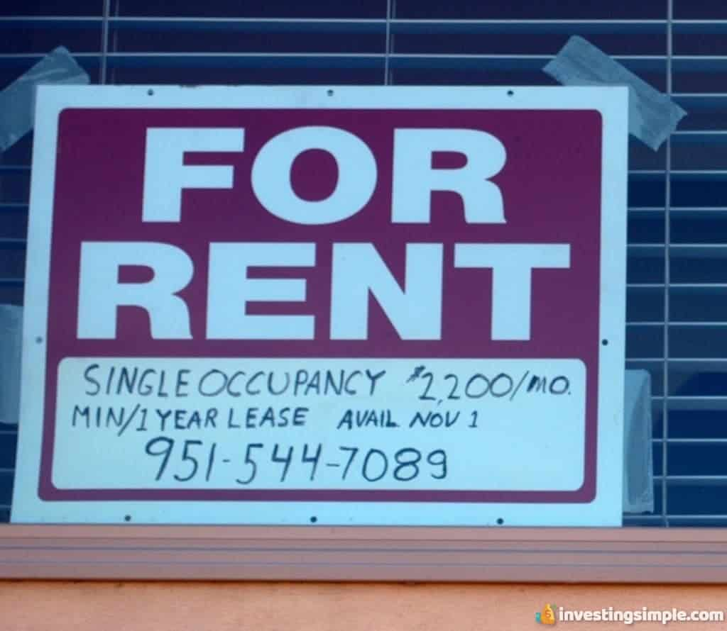 Real estate investment renting out a property.
