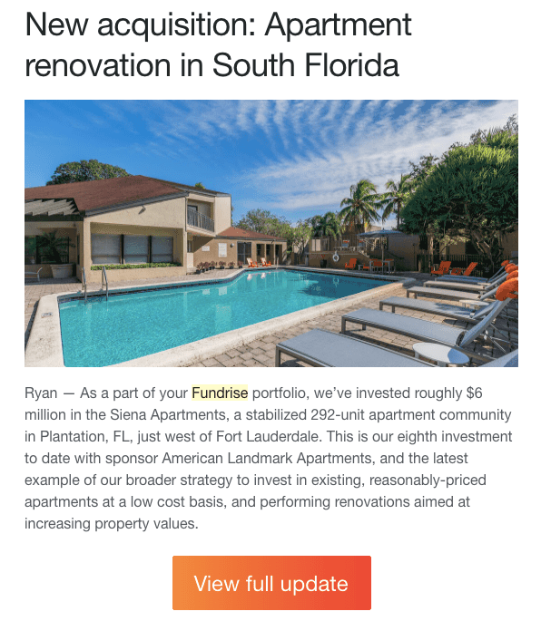 Fundrise real estate projects are all over the united states. This renovation in south florida is shown in this picture. Investors can view and manage their investments on the fundrise app.