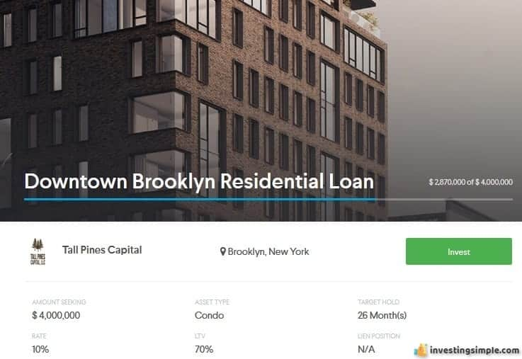 Downtown Brooklyn residential loan. This investment is a debt investment on the Equitymultiple platform.