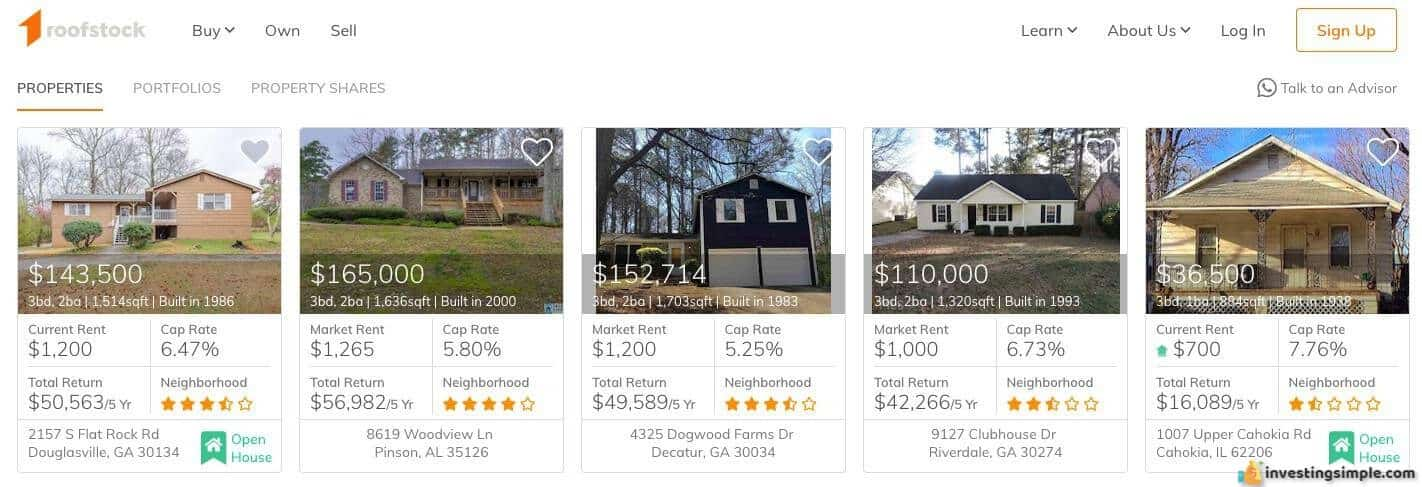 A collection of single family properties available for investors on Roofstock and the anticipated returns.