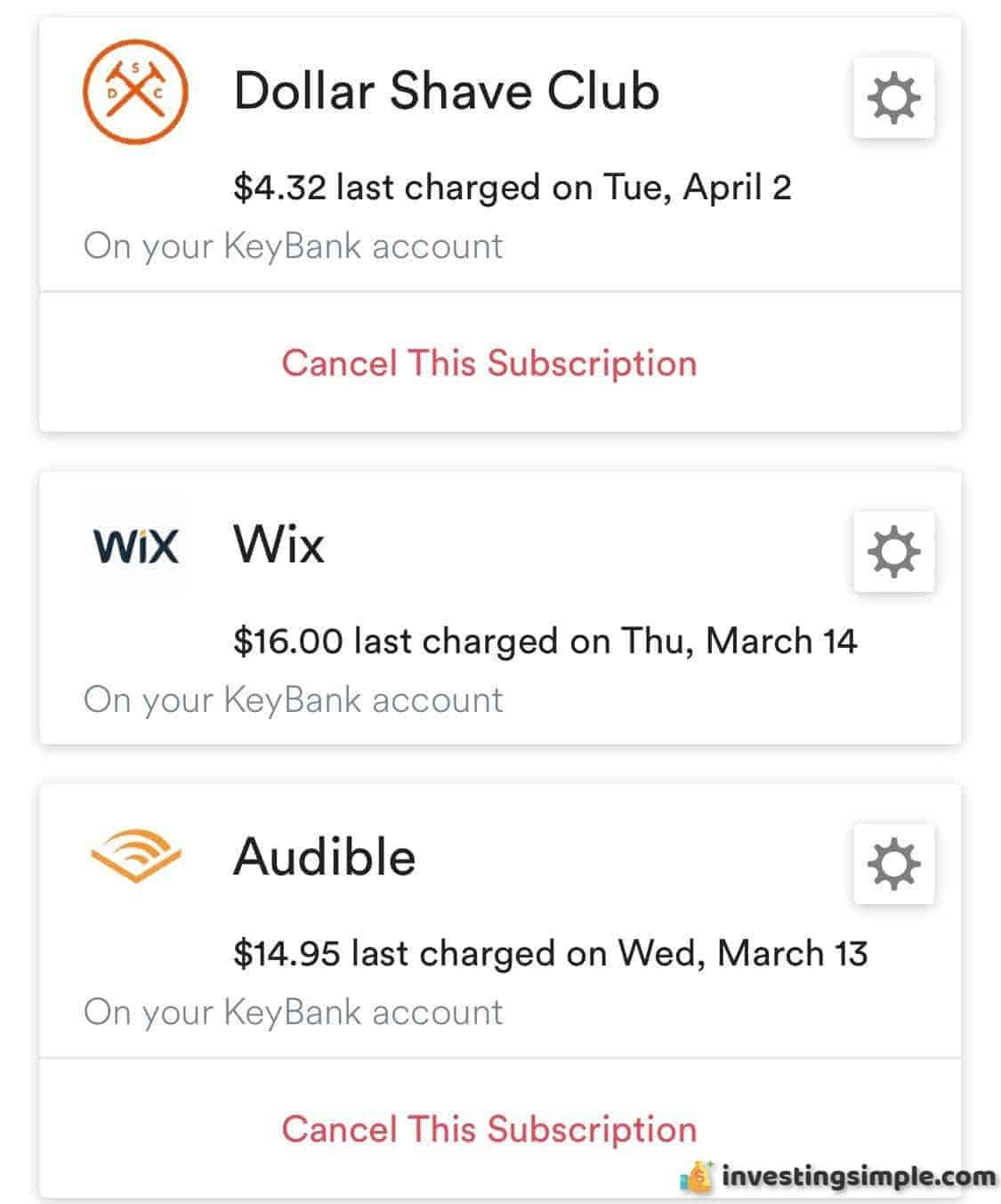 Trim keeps track of your subscriptions and notifies you monthly on how much it is costing you.