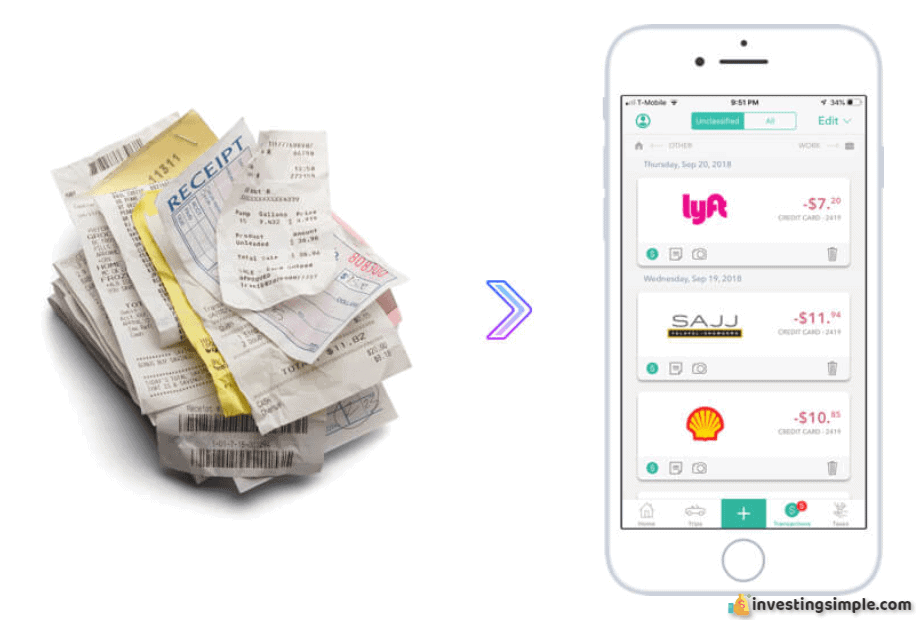 Everlance allows you to scan receipts and store them digitally