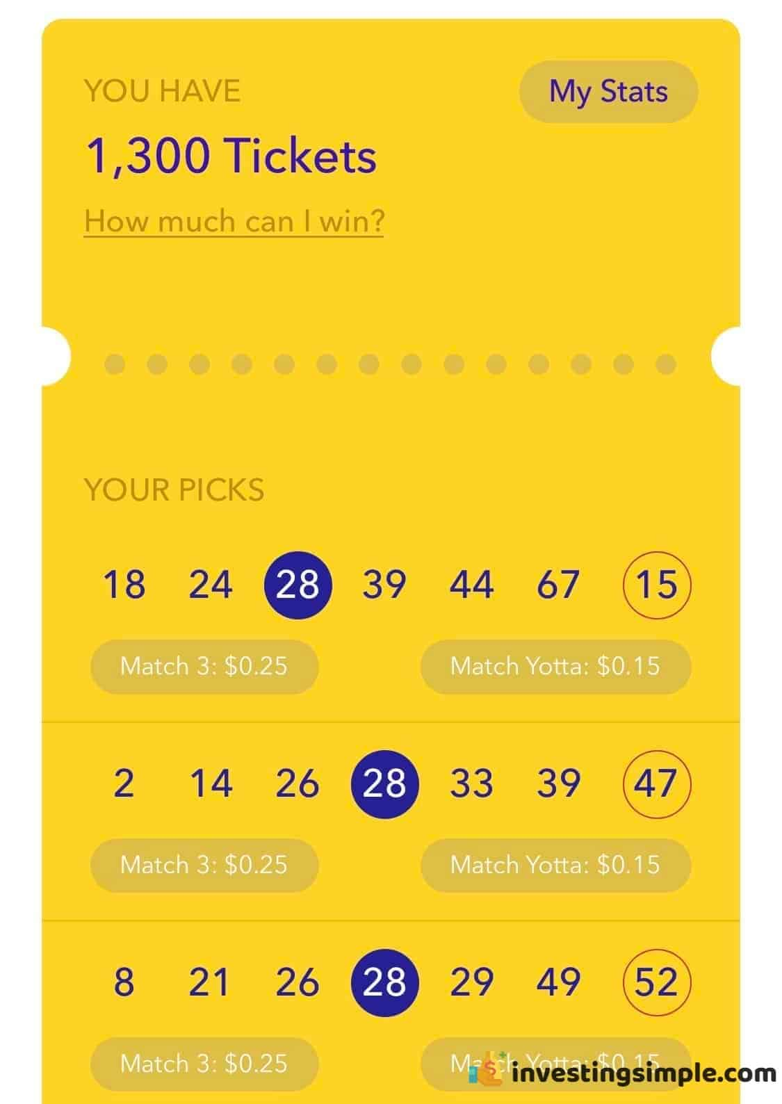 For every $25 you deposit you earn 1 Yotta ticket